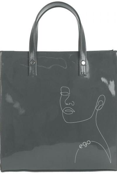 siva lakovana kabelka