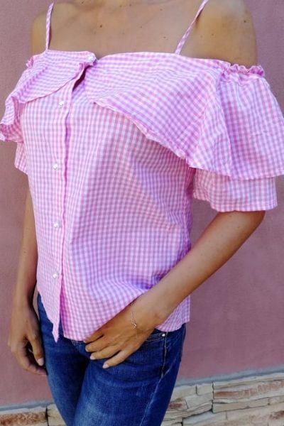 ruzova karovana bluzka
