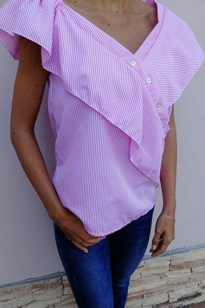 ruzova pruzkovana bluzka